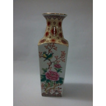 Vaso Em Porcelana Chinesa Com Flores E Pássaro Selo Vermelho