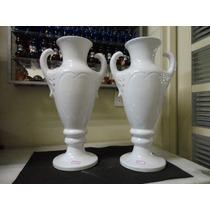 #9065# Par Ânforas Romanas Em Porcelana Branca Grande!!!