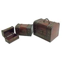 Porta Joias De Madeira Em Formato De Baú Conj Com 3 Peças