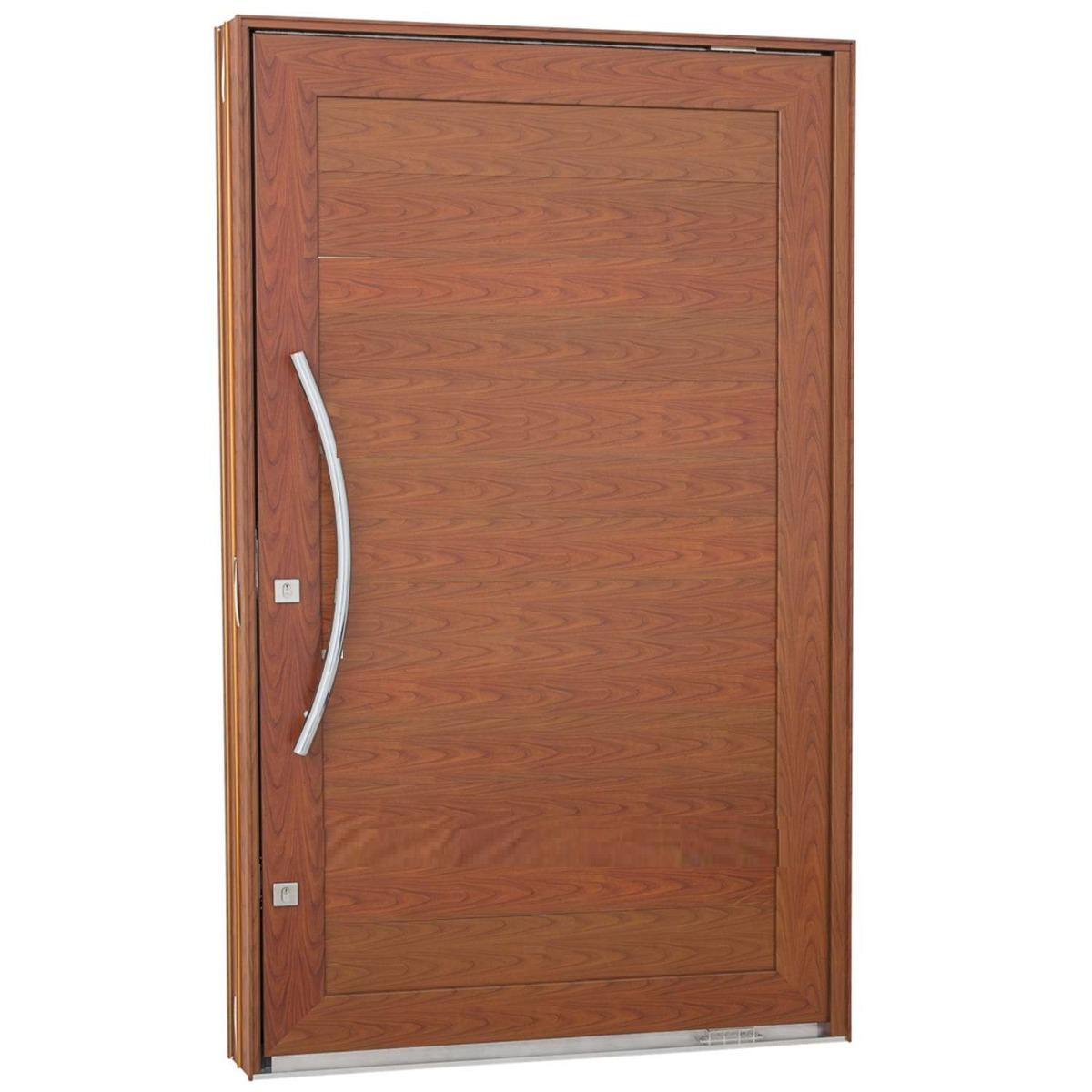 #854C34 Porta Pivotante Em Alumínio Cor Amadeirado 1200x2400 R$ 3.989 00 no  1698 Janela De Aluminio Na Cor De Madeira