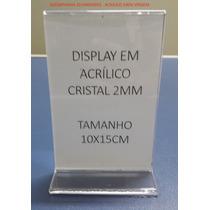 Display 10x15 Acrílico T Invertido P/ Mesa - Kit 10 Peças