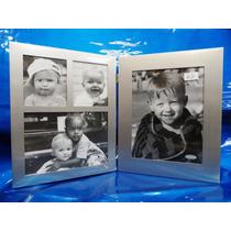 Porta Retrato Aluminio E Vidro P/4 Fotos Diversas Pé/deitado