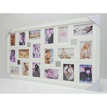 Quadro Painel De Fotos - 18 Fotos - Mod. Lisa - Cor Branca