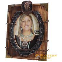Porta Retrato Importado Rústico C/ Detalhes Em Arame Farpado