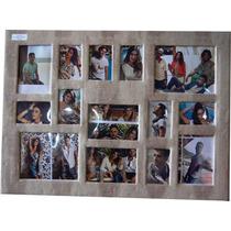 Painel Quadro 14 Fotos 10x15,15x21 E 20x35 De Madeira Couro