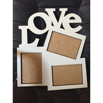 Painel Porta Retrato Love 3 Fotos 10x15 Mdf Branco