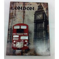 Quadro Relevo Ônibus De Londres Em Metal E Madeira 40 Cm