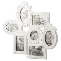 Porta Retrato De Parede Retro Branco Para 7 Fotos