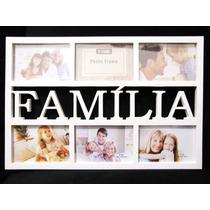 Quadro Painel Família Porta Retrato 48 X 32 Cm Mural 6 Fotos