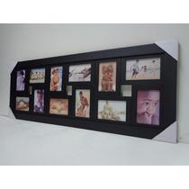 Quadro Painel De Fotos - 12 Fotos - Mod. Lisa - Cor Preta