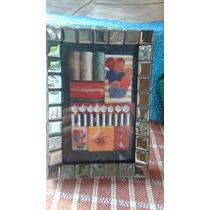 Porta Retrato Decorado Com Mosaico. Pastilha Metalizada10x15
