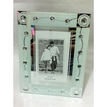Porta Retrato Em Vidro Fundo Espelhado E Branco 10 X 15