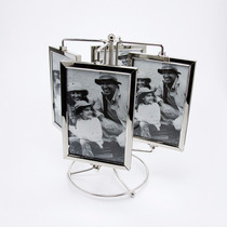 Porta Retrato Giratório Vertical Metal E Vidro 8 Fotos 10x15