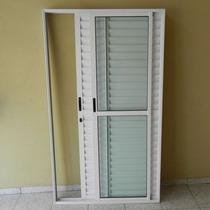 Porta Balcão 3..fls. Alum 2.10 X 1.50 Branca L-25 C/fechad..