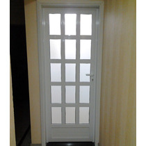 Porta De Alumínio Branco 2,1 X 0,9 Mt Abrir Com Vidro
