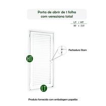 Porta De Alumínio Com Veneziana Inteira Branco100x 2,10