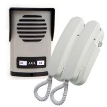 Kit Interfone Porteiro Eletrônico Coletivo De 2 Pontos - Agl