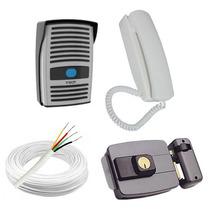 Kit Interfone Ecp + Fechadura Elétrica + Cabo - Frete Grátis