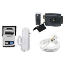 Kit Interfone + Fechadura Elétrica 12v Abre P/ Fora + Cabo