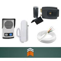 Kit Interfone Agl + Fechadura Elétrica Abre P/ Fora + Cabo