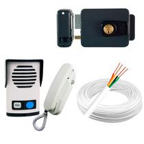 Kit Interfone Agl + Fechadura Elétrica + 20 Metros De Cabo