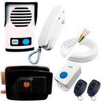 Kit Interfone Agl +fechadura +acionador +2 Controles Remotos