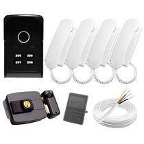 Kit Interfone 4 Pontos Touch Lider + 4 Monofones + Fechadura