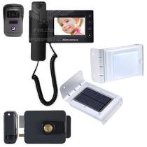 Kit Segurança Residencial Interfone Câmera Trava Luz Solar