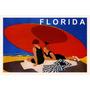 Florida Casal Praia Areia Guarda Sol Vintage Poster Repro