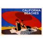 California Casal Praia Guarda Sol Mar Vintage Poster Repro