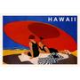 Hawaii Usa Casal Praia Areia Guarda Sol Vintage Poster Repro
