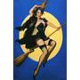 Poster Cartaz Pinup Mulher Nua Sexy Bruxa Vassoura Lingiere