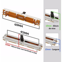 Potenciomentro Deslizante 20k Percurso 45mm - Mesas De Som