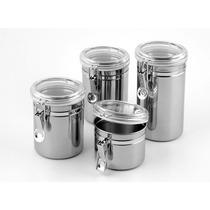 Conjunto De 4 Potes Hermeticos Para Mantimento Aço Inox 3254