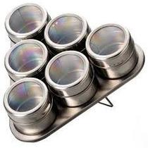 Porta Temperos 6 Potes Em Aço Inox Imã Na Base Com Suporte
