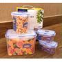 Conj Kit 04 Potes Hermético Plástico Resistente Trava Vacuo