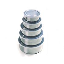 5 Potes Em Inox C/ Tampa Siliconada 10 Cm/12cm/14cm/16cm/18c
