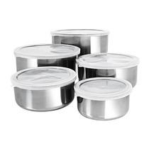 Conjunto De Tigelas Aço Inox Com Tampas 5 Peças
