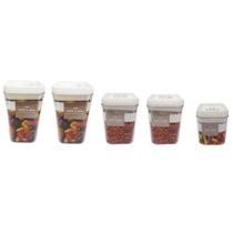 Kit 5 Potes Hermetico Acrilico 2 - 2,3l + 2 - 1,7l + 1- 1l