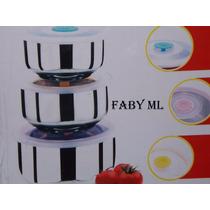 Conjunto De 3 Vasilhas Herméticas Para Mantimentos-aço Inox