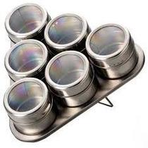 Porta Condimento 6 Potes Em Aço Inox Imã Na Base Com Suporte