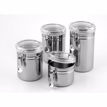 Conjunto De 4 Potes Herméticos Para Mantimentos-aço Inox