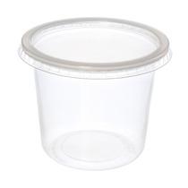 Pote De Plástico Descartável Para Alimentos Com Tampa 350m