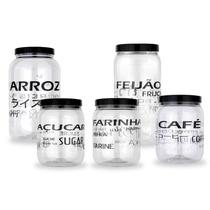 Conjunto De 5 Potes Para Mantimento Arroz Feijão Café Açúcar