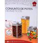 Conjunto De 3 Potes Quadrados Herméticos Para Alimentos
