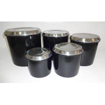 Conjuntos De Potes Para Mantimentos 5 Peças Preto