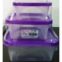 Kit C/3 Potes De Plastico Jaguar