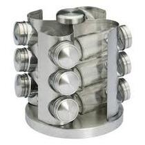 Porta Tempero Em Aço Inox 12 Potes De Vidro Giratório