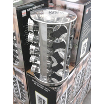 Porta Temperos C\ Base Giratoria Em Aço Inox- Import