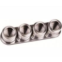Kit 5 Porta Temperos Condimento Inox Magnético C/ 4 Potes